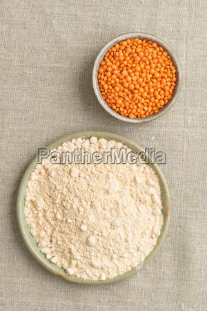 red lentils and lentil flour