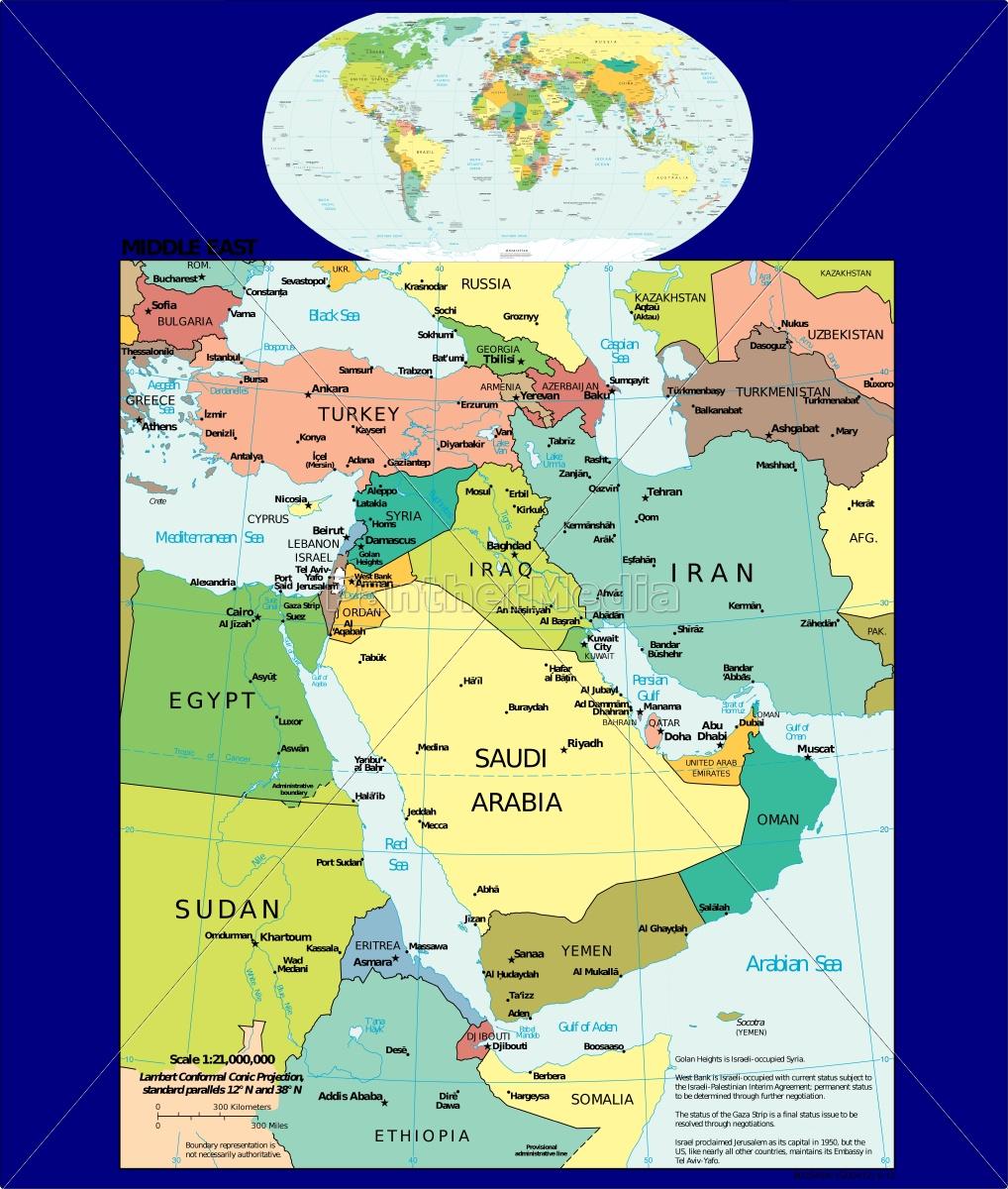 Doha Karte Welt.Lizenzfreie Vektorgrafik 14833231 Welt Und Nahost Karte