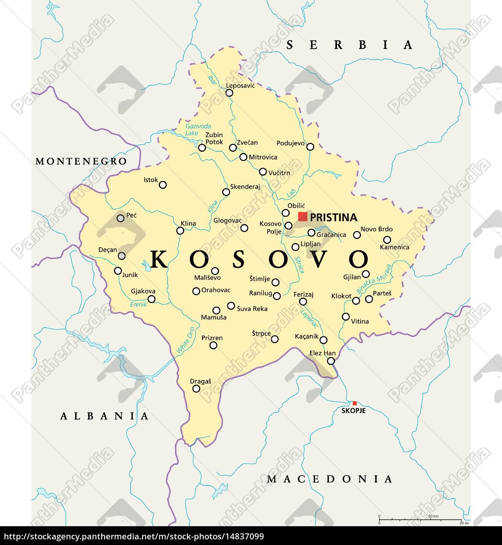 Kosovo Politische Karte Lizenzfreies Bild 14837099