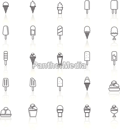 ice cream line icons with reflect