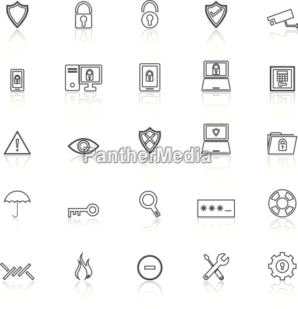 security line icons with reflect on