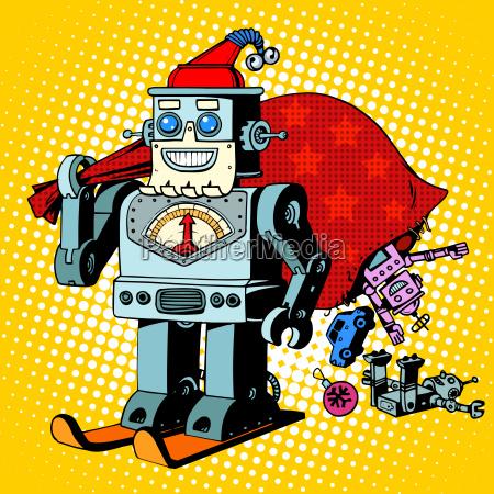robot weihnachtsmann weihnachtsgeschenke humor zeichen robosanta