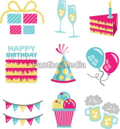 birthday vector icons set