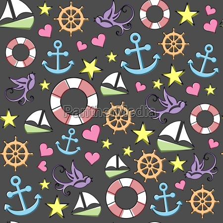 seamless background with marine symbols