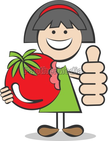 child with tomato and thumbs up