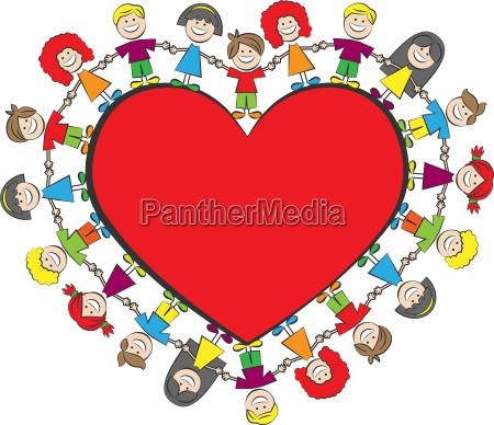 children heart vector illustration