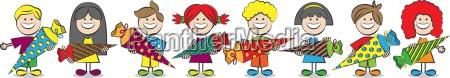 children with schultueten vector