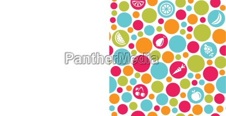 seamless dots background with fruits and