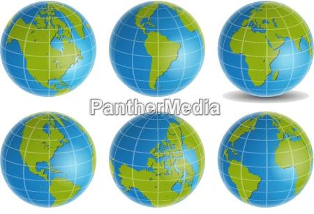 globe 3d blue green vector set