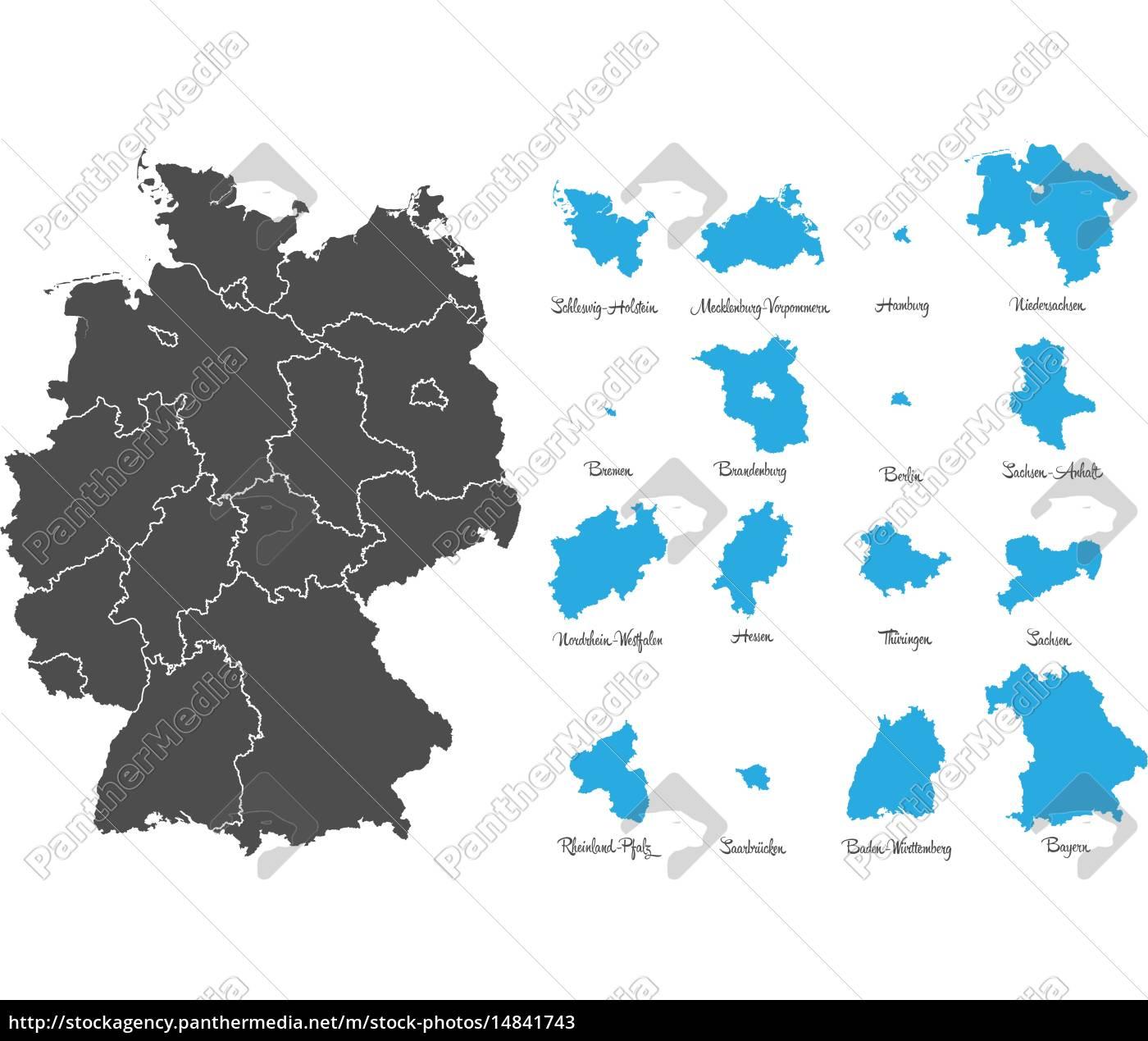 deutschland, karte, mit, bundesländern, vektor, set - 14841743