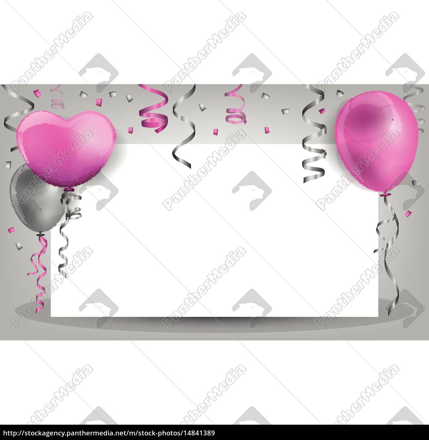 Geburtstag Hintergrund Mt Ballons Konfetti Und Lizenzfreies Bild
