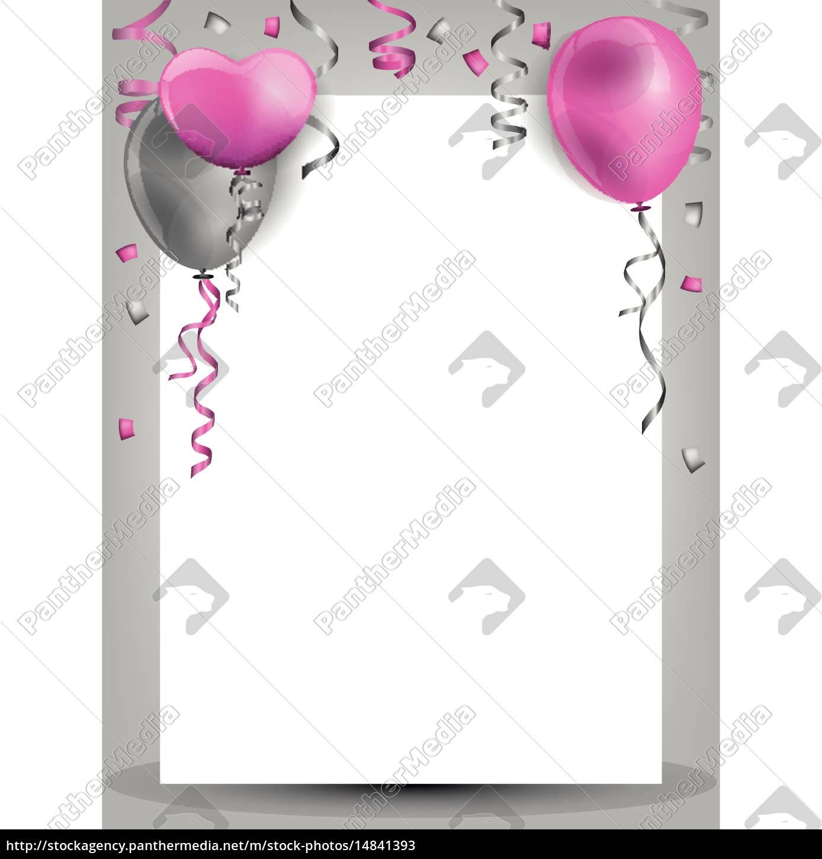 Geburtstag Hintergrund Mt Ballons Konfetti Und Stockfoto