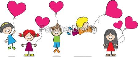 kinder, mit, herz, luftballons, vektor, illustration - 14841827