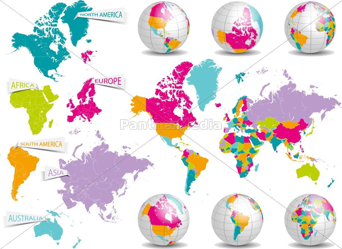 Karte Kontinente Welt.Lizenzfreie Vektorgrafik 14841931 Welt Karte Mit Kontinenten Und Erdkugeln Vektor Grafik