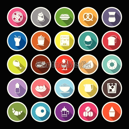 easy meal flat icons with long