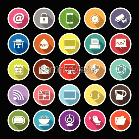 internet cafe flat icons with long