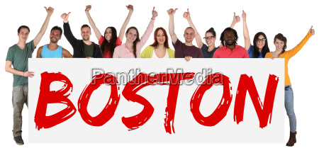 boston sign multicultural group laughing young