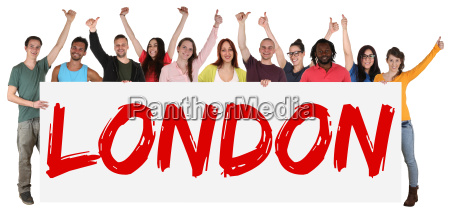 london sign multicultural group laughing young