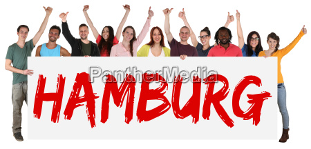 hamburg sign multicultural group laughing young