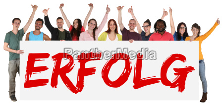 success success sign multicultural group laughing