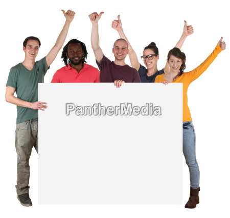 multicultural young people people hold blank