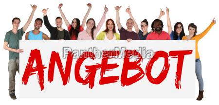 offer special offer sign multicultural group