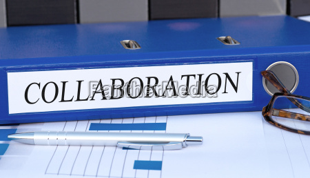 collaboration blue binder in the