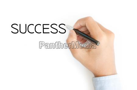 business hand schreiben erfolg auf weissem
