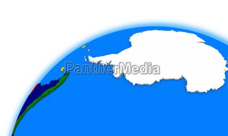 antarktis auf dem globus