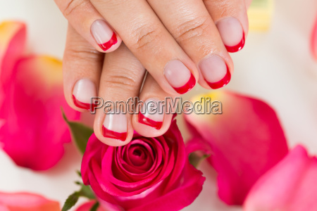 hands with manicured nail varnish placed