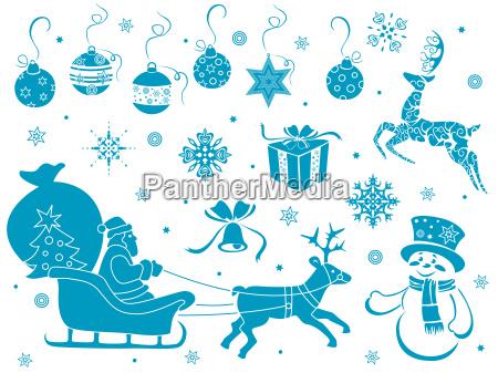 satz von weihnachtsschablonen