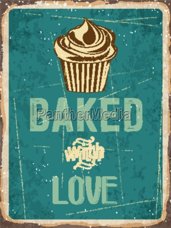 retro metal sign cupcakes