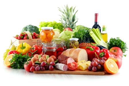 composition with organic food isolated on