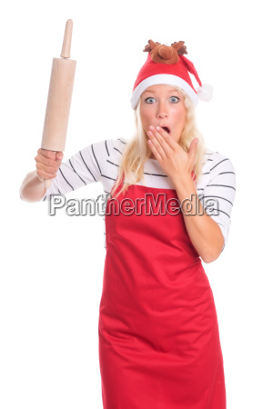 christmas woman in apron holding a
