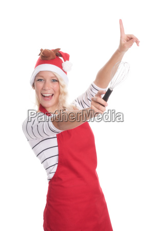 christmas woman in apron showing with