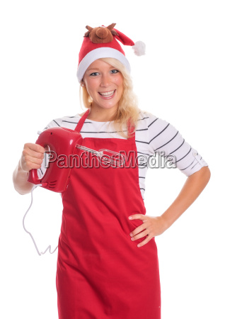 woman with santa hat in apron