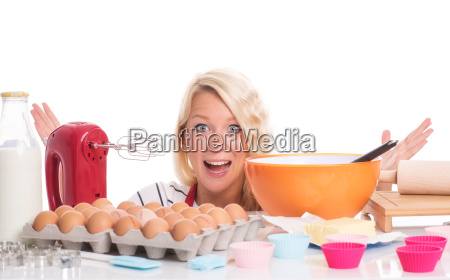 housewife bakes muffins