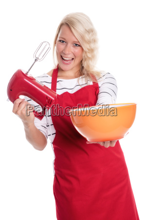 woman in apron stirred with a