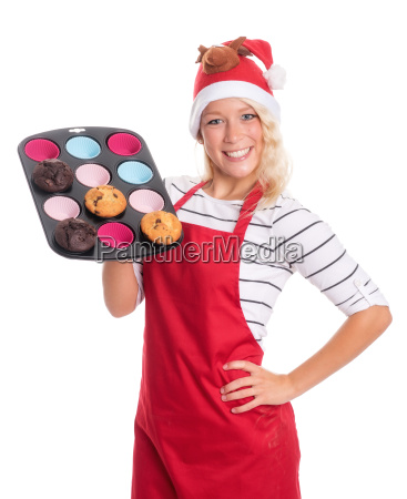 woman with santa hat offers homemade