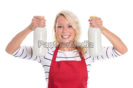 housewife in red apron holding two