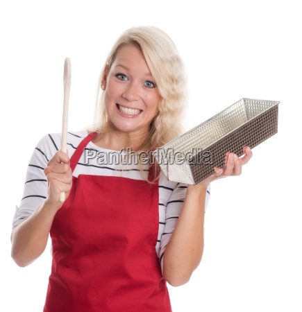 woman in apron holding a baking