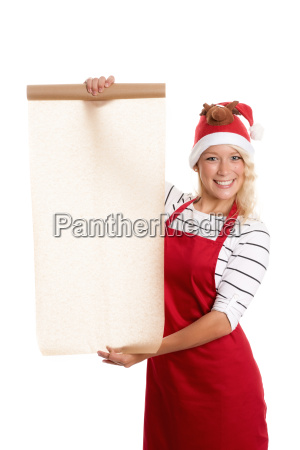 christmas woman holding a roll baking