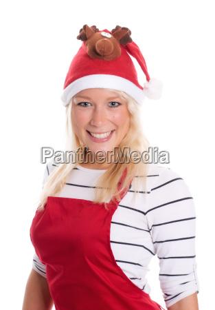 pretty blonde woman with santa hat