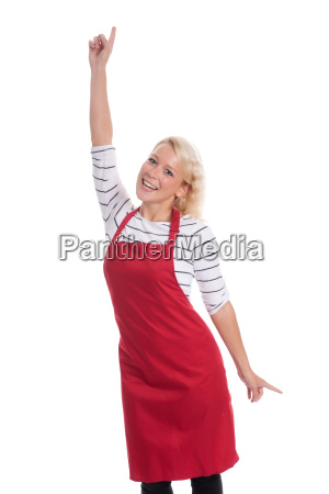housewife in red apron is cheerful