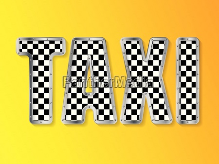 abstract taxi advertising with metallic framed