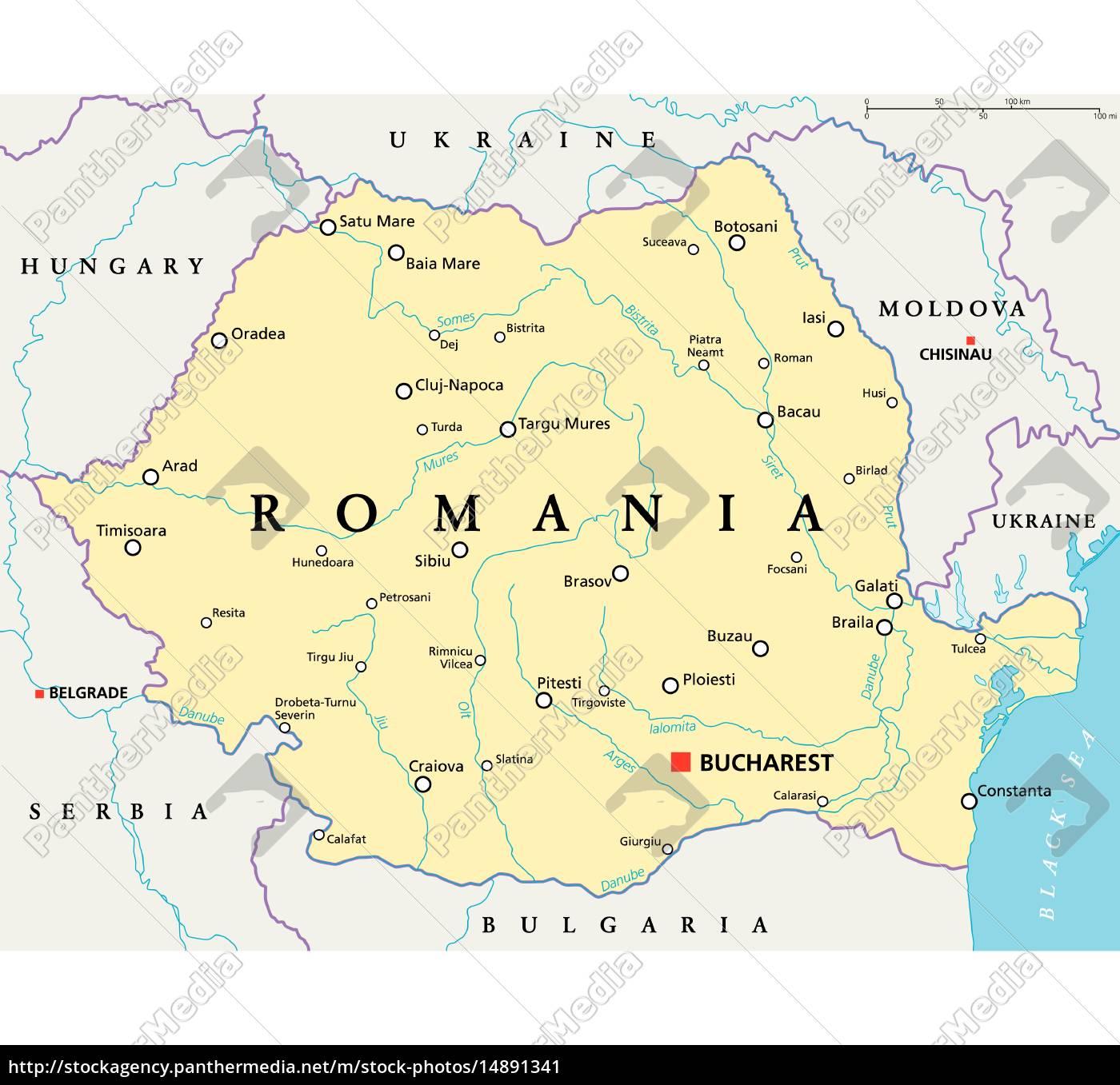 Rumanien Politische Karte Lizenzfreies Bild 14891341