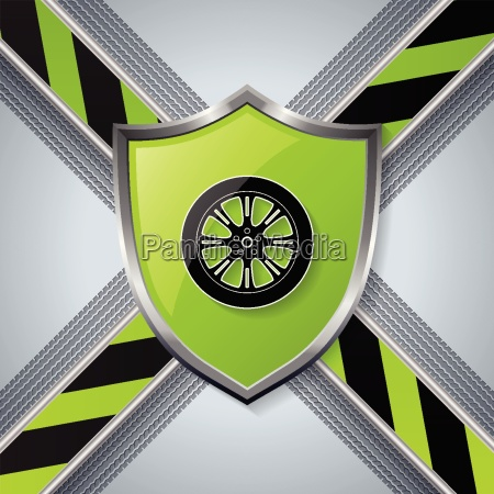 tire and wheel background with shield