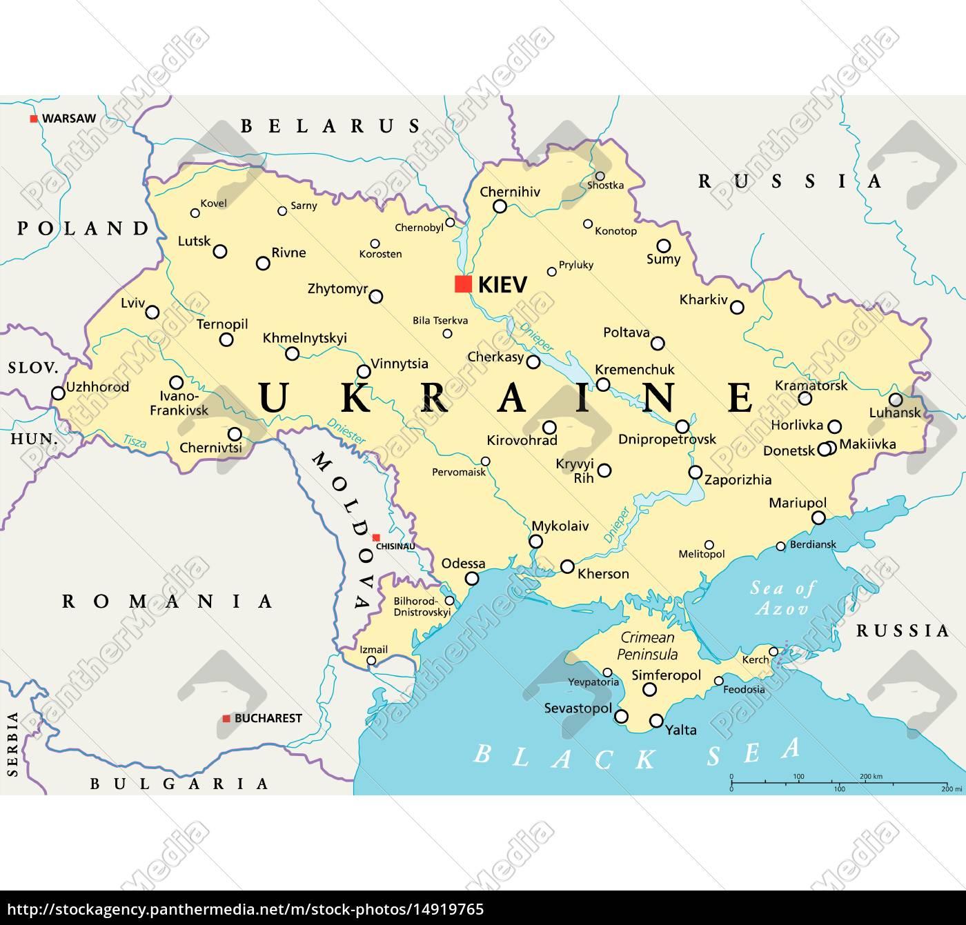 Ukraine Politische Karte Stockfoto 14919765 Bildagentur