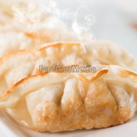 close up asian gourmet fried dumplings