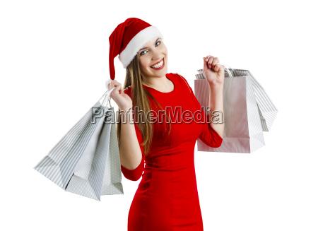 santa woman mit einkaufstaschen
